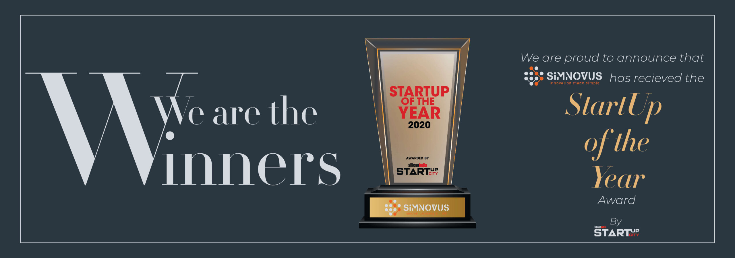 Startup of the Year 2020 award by SiliconIndia